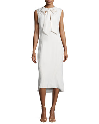 Sleeveless Tie-Neck Cocktail Dress, Ivory