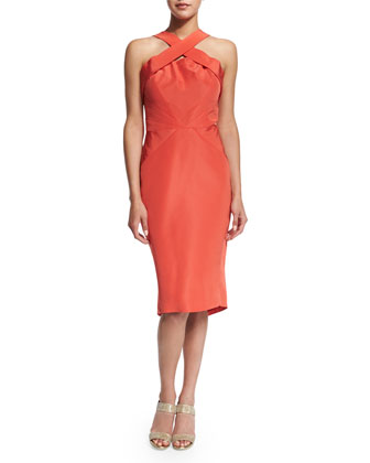 Crisscross-Neck Sleeveless Sheath Dress, Azalea