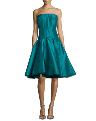 Strapless A-Line Cocktail Dress, Teal