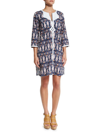 Sophie Ikat-Print Cotton Tunic