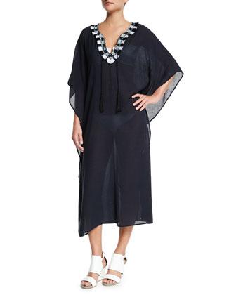 Sunita Contrast-Collar Caftan Coverup