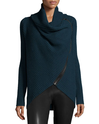 Nikki Ribbed Asymmetric Zip-Front Sweater