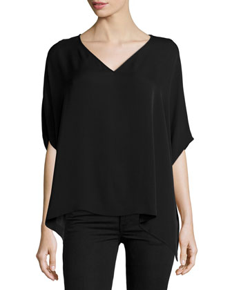 Adria Short-Sleeve Silk Top, Black