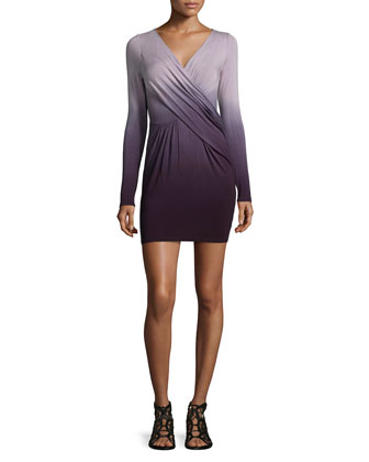 Mya Long-Sleeve Dress, Plum Ombre