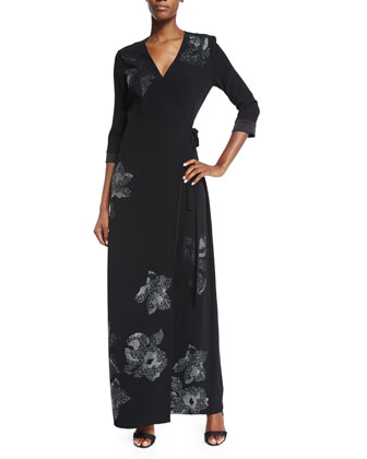 New Julian Two Floral-Trim Maxi Wrap Dress, Black