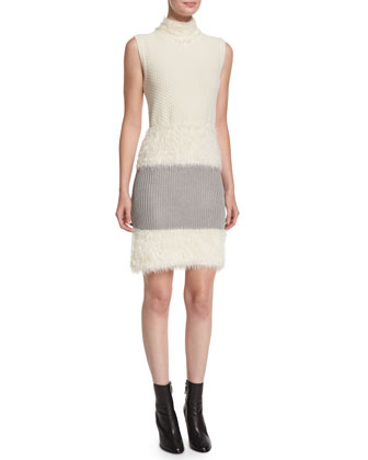 Sleeveless Plush Knit Dress, Ivory/Taupe