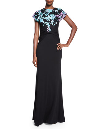 Short-Sleeve Wool Floral-Intarsia Statement Gown, Black