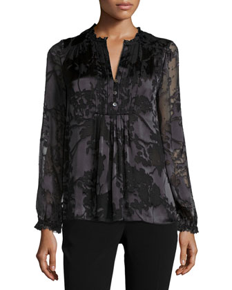 Annalise Floral Top, Black