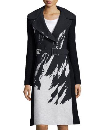 Incognito Brushstroke-Print Wool-Blend Coat, Black/Chalk