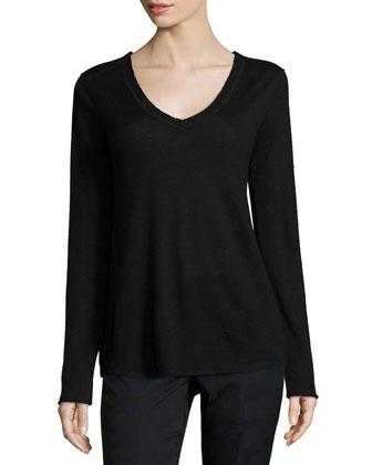 Cashmere V-Neck Sweater, Black