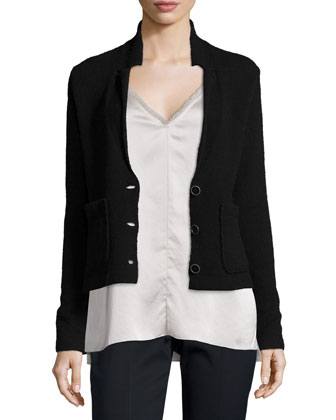 Wool-Blend Sweater Blazer, Black