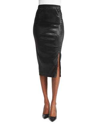 Sparkle Zip Pencil Skirt, Black