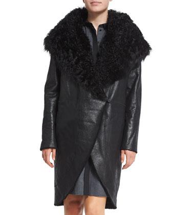 Aubrey Oversized-Collar Coat