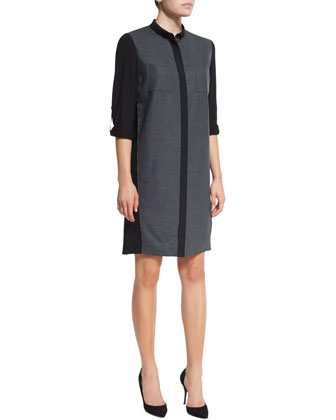 Aubrey Oversized-Collar Coat & Valerie Tabbed-Sleeve Shirtdress