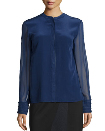 Rachel Sheer-Sleeve Blouse & Jacie Asymmetric Pencil Skirt
