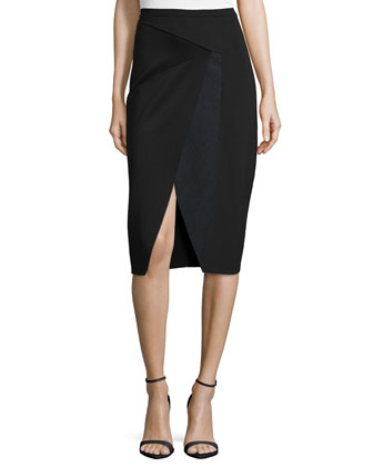 Rachel Sheer-Sleeve Blouse & Jacie Asymmetric Pencil Skirt