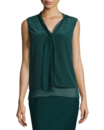 Brandi Sleeveless Faux-Scarf Blouse