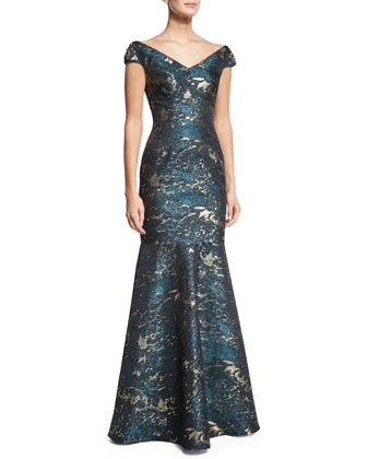 Cap-Sleeve Brocade Mermaid Gown