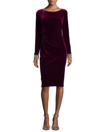 Long-Sleeve Velvet Dress W/ Beaded Cuffs