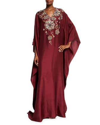 Long-Sleeve Embellished Caftan Gown, Wine