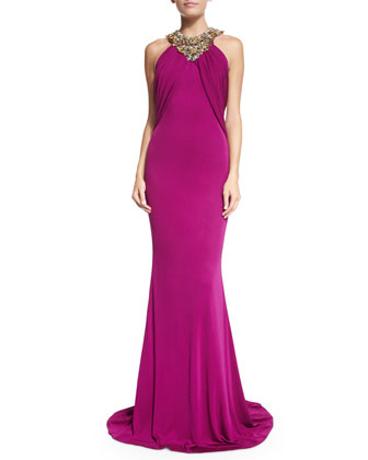 Embellished Halter-Neck Gown, Raspberry