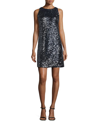 Stretch Sequined A-Line Dress