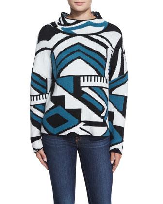 Popova Geometric-Print Sweater, Blue Multi
