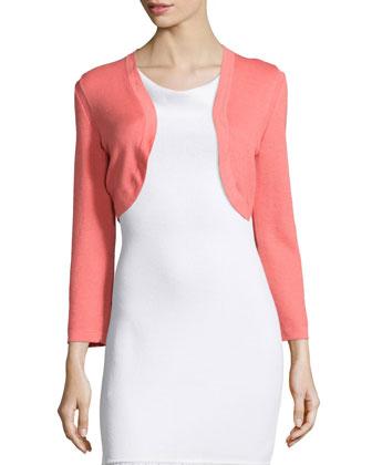 Cropped-Sleeve Knit Bolero, Shell Pink