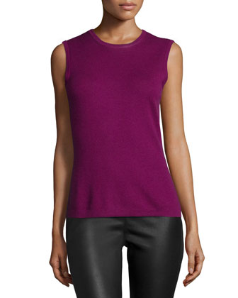 Jewel-Neck Knit Shell, Orchid