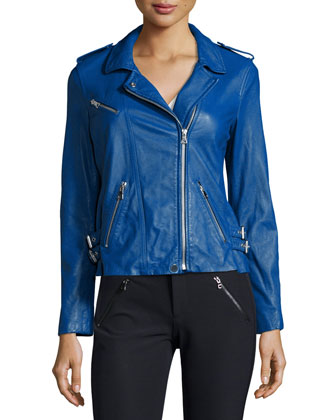 Zip-Trim Leather Motorcycle Jacket, Electric Blue