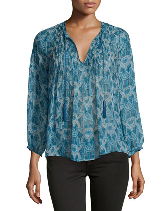 Suzettea Printed Silk Top