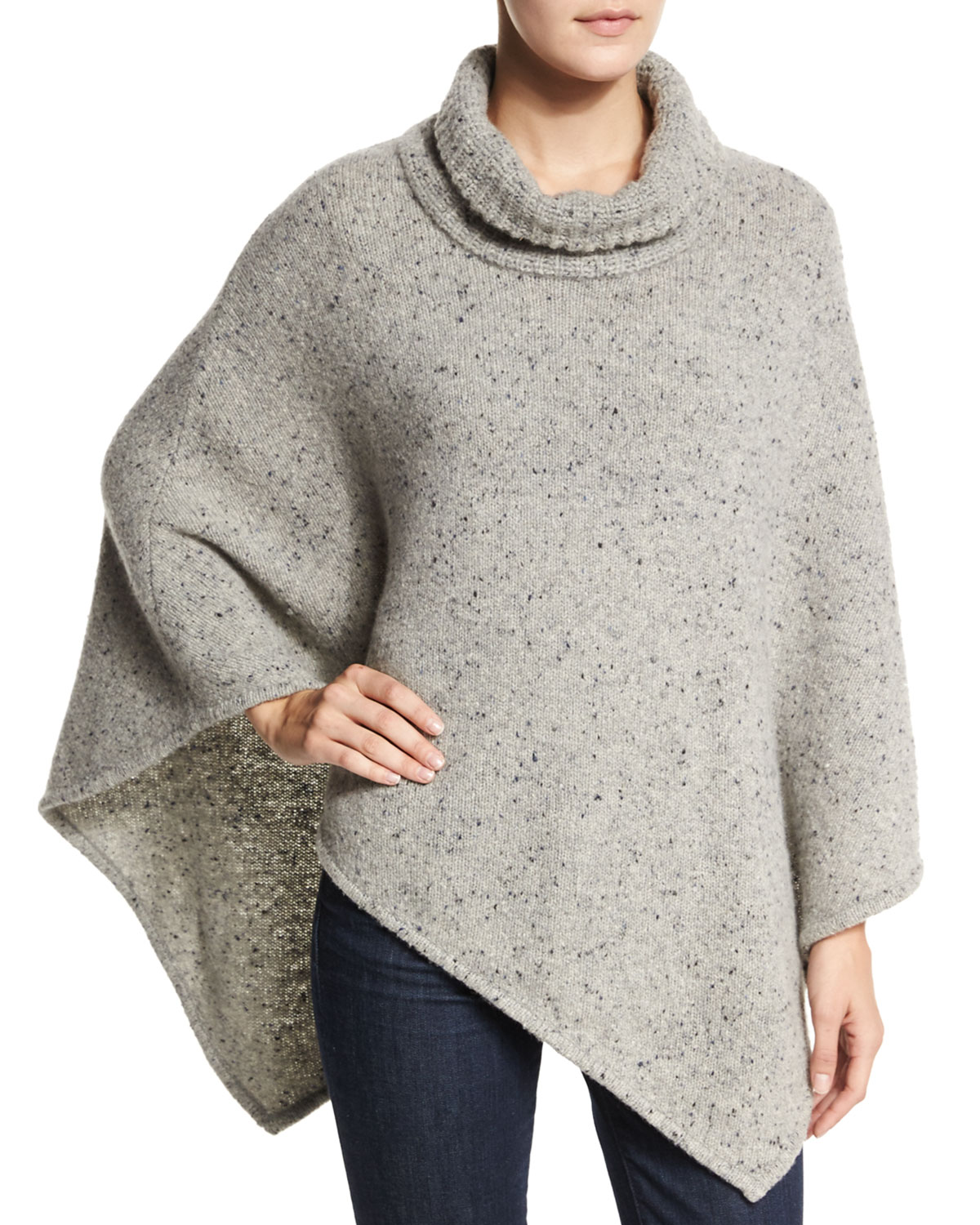 Haesel Speckled Cashmere Poncho, Size: MEDIUM/LARGE, LT HEATHER GRAY - Joie