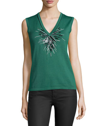 V-Neck Embellished Tank, Green Bay