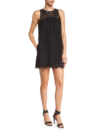 Fahfia Lace Sheath Mini Dress, Caviar