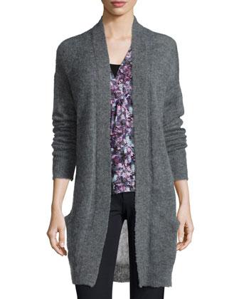 Long-Sleeve Pointelle-Knit Cardigan, Gray
