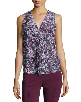 Forest Trail Sleeveless Pleated Silk Top, Purple/Multicolor