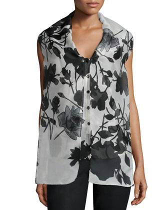 Sleeveless Floral-Print Blouse, White/Black