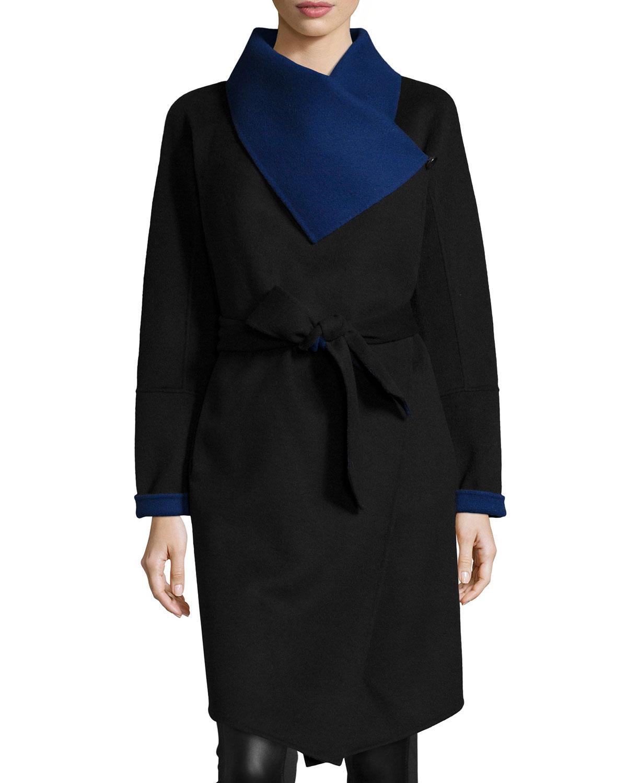 Marilyn Two-Tone Wool-Blend Wrap Coat, Women's, Size: L (10/12), Black/Lapis - Diane von Furstenberg