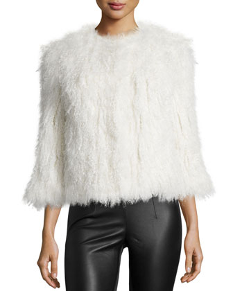 Knitted Mongolian Lamb Fur Coat