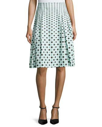 Dot-Print Pleated A-Line Skirt, Smoky Umber/Green