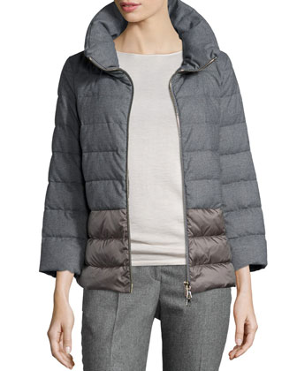 Flannel Short Puffer Coat