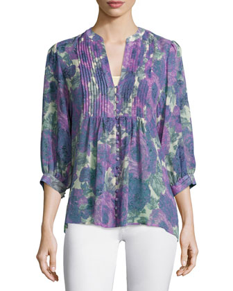 Datev Floral-Print Silk Top