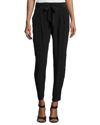 Rutilda Pleated-Front Pants, Caviar