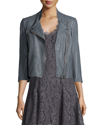 Casella Asymmetrical-Zip Leather Jacket