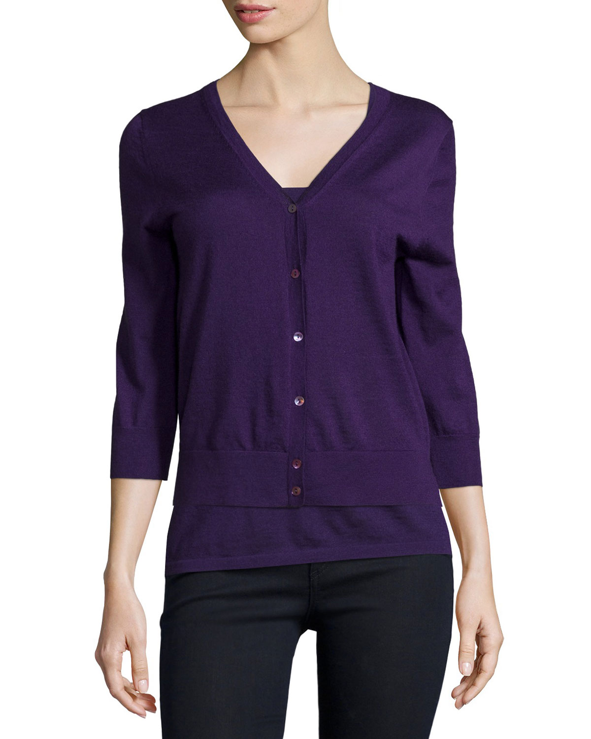 Modern Cashmere Superfine V-Neck Cardigan, Size: LARGE, Black - Neiman Marcus Cashmere Collection