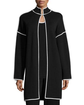 Long Topper Jacket with Contrast Trim, Contrast-Trim Knit Tank & High-Waist ...