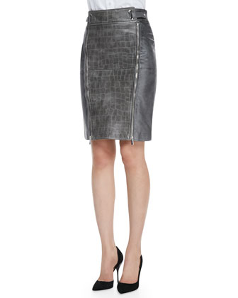 Leather Crocodile-Embossed Skirt