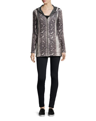 Plush Python-Print Jacket & Legging Set