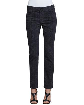 Sheri Python-Print Skinny Pants, Dark Ash