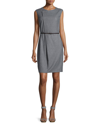 Sleeveless Asymmetric Belted Sheath Dress